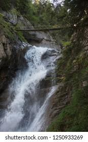 Bridge and waterfall at via Ferrata de Tiere (Champery, Switzerland)
