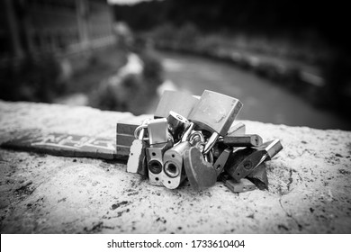 Bridge where lovers express their love by leaving a lock forever.