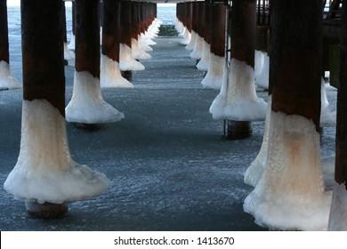 Bridge in winter - details