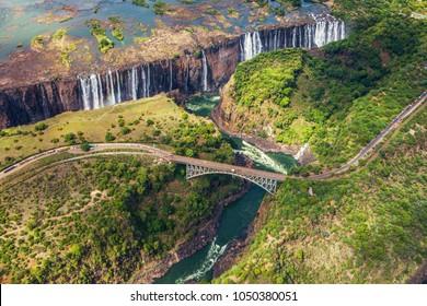The bridge from Zambia to Zimbabwe over  Zambezi river and  Victoria falls