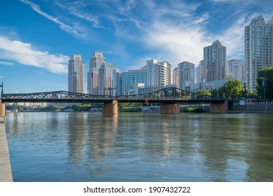 Bridge,City scenery and modern architecture skyline by the Haihe River in Tianjin, China