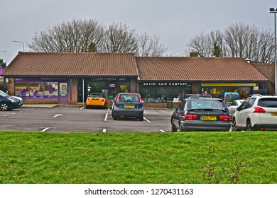Bridgend, Bridgend County Borough / Wales UK- 12/28/2018: The popular shopping precinct on Brackla housing estate is known locally as 'The Triangle'. It contains several shops and a Co-op supermarket.