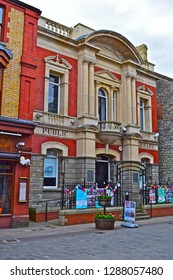 Bridgend, Bridgend County Borough /Wales UK -7/4/2018:Carnegie House. Blt 1907 as library with gift of £2000 by Andrew Carnegie the philanthropist.Now occupied by town council as offices & arts centre