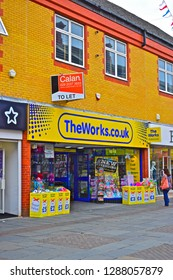 Bridgend, Bridgend County Borough / Wales UK - 7/4/2018: The modern shop unit in the town centre occupied by The Works, selling toys, books games and stationery.