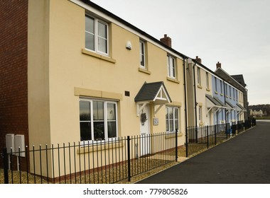 Bridgend, Wales - December 2017: Row of houses on a new housing development