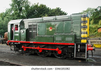 Bridgenorth, England - August 2016: Wide angle view of a preserved diesel electric shunter locomotive on the Severn Valley Railway