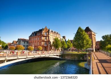 Bridges across Neckar river, Esslingen, Germany