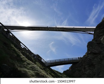 Bridges from the coast to Tintagle Castle, Cornwall