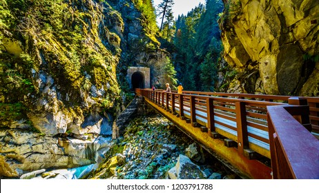 Bridges connecting the Othello Tunnels that were carved through the Coquihalla Canyon for the now abandoned Kettle Valley Railway at the town of Hope, British Columbia, Canada