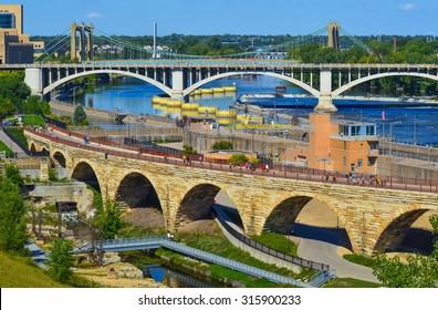 Bridges of downtown Minneapolis.
