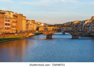 Bridges in Florence at sunset