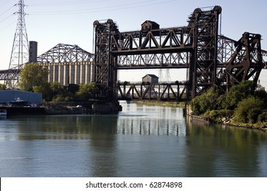 Bridges - industrial area - Chicago South Side. Skyway bridge in the far background.