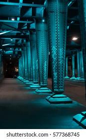 Bridges metal pillar at night