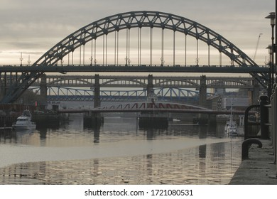 The bridges of Newcastle at sunset