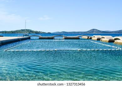 The bridges on the background of island Prvic, Vodice, Croatia.