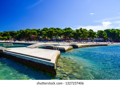 The bridges on the background of Vodice beach, Croatia.