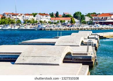 The bridges on the background of Vodice cityscape, Croatia.