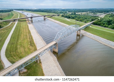bridges over the Chain of Rocks Canal of MIssissippi River above St Louis - aerial view