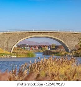 Bridges over man made Oquirrh Lake in Daybreak UT