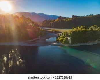 Bridges over Rakaia river, Rakaia Gorge, New Zealand, South Island, during sunset
