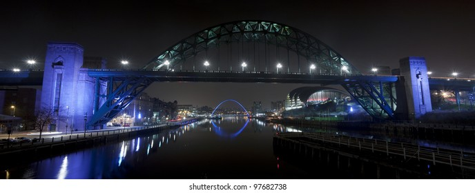 The Bridges over the River Tyne in Newcastle and Gateshead, England.