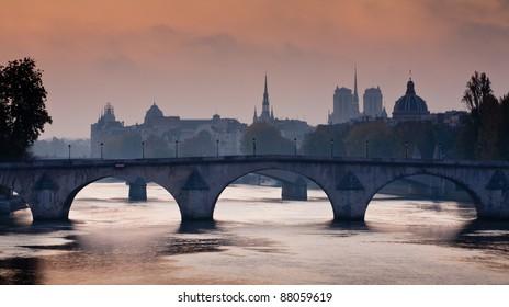 Bridges over the Seine river in Paris