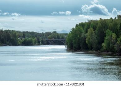Bridges over the valley of the river in Sweden. (Dalälven Älvkarleby).