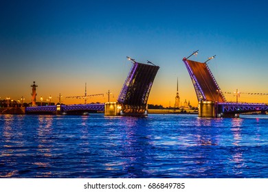 The bridges. Palace Bridge. St. Petersburg. Russia. White Nights . Petersburg Russia.