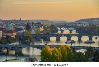 Bridges of Prague over Vltava River on sunny day. Scenic view from Letna Hill in Prague, Czech Republic.