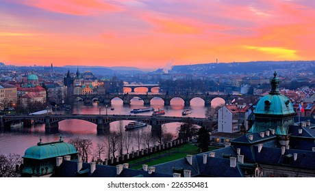 Bridges of Prague at sunset. Prague.Czech Republic