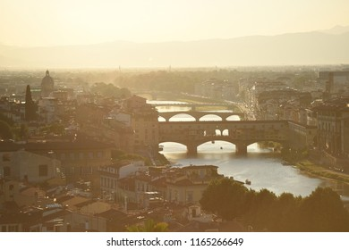 Bridges in sunset in Florence, Italy