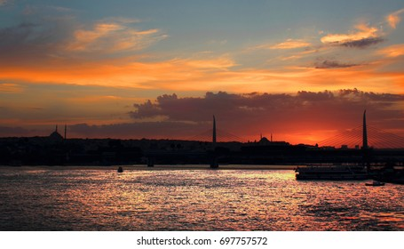 The Bridges Sunset in Istanbul city Turkey