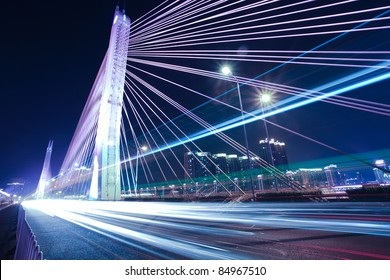 Bridges and urban night in Guangzhou, China