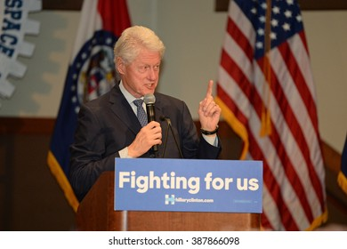 Bridgeton, MO/USA - March 08, 2016: Former president Bill Clinton speaks to supporters on behalf of candidate Hillary Clinton, at District 9 Machinists Hall in Bridgeton.
