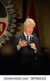 Bridgeton, MO/USA â?? March 08, 2016: Former president Bill Clinton speaks to supporters of Hillary Clinton, at District 9 Machinists Hall in Bridgeton, a suburb of St. Louis.