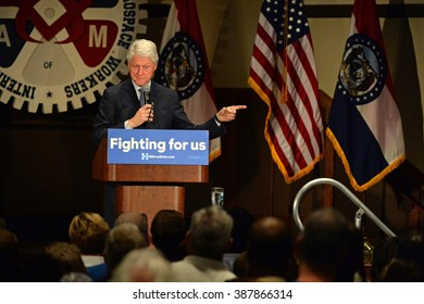 Bridgeton, MO/USA - March 08, 2016: Former president Bill Clinton speaks to supporters at rally promoting his wife and candidate Hillary Clinton, at District 9 Machinists Hall in Bridgeton.