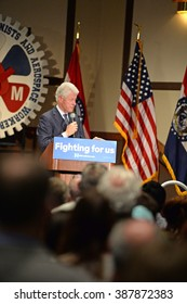 Bridgeton, MO/USA â?? March 08, 2016: Former president Bill Clinton speaks to supporters of wife and candidate Hillary Clinton, at District 9 Machinists Hall in Bridgeton, outside St. Louis.