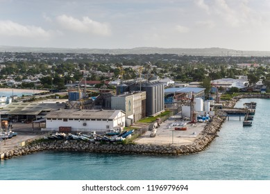 Bridgetown, Barbados - December 18, 2016: Grain Silos and port infrastructure at Freight Port of Bridgetown, Barbados island, West Indies, Caribbean, Lesser Antilles, Central America.