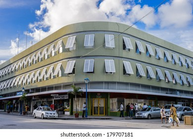 BRIDGETOWN, BARBADOS - NOV 4, 2013: Building in the Center of Bridgetown, Barbados. Historic Bridgetown and its Garrison is a World Heritage Site of UNESCO.
