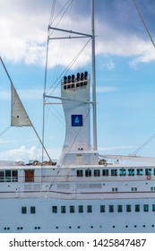 BRIDGETOWN, BARBADOS - November 22, 2016: Club Med is a private company headquartered in France, specializing in all-inclusive holidays. Club Med 2 is a five-masted  schooner owned by Club Med.