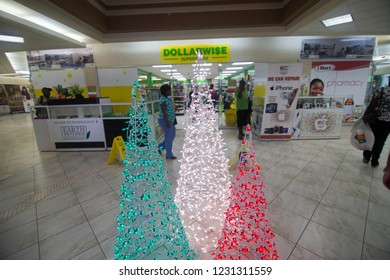 BRIDGETOWN BARBADOS ON DECEMBER 5, 2017: Bridgetown in Barbados Caribbean on Dec 5, 2017 Mall indoor in  Christmas time