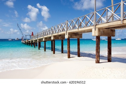 Bridgetown, Barbados - Tropical island and caribbean sea - Brownes beach, pier and railing