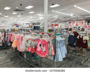 Bridgewater, NJ, 8/3/2019: People are shopping in girls section of a Target department store.