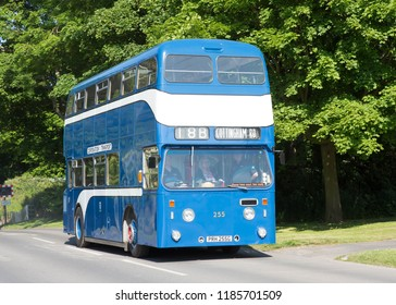BRIDLINGTON, EAST YORKSHIRE UK, JUNE 10 2018. Ex Kingston upon Hull 1969 Leyland Atlantean double deck bus on a preserved bus run in Bridlington, UK.
