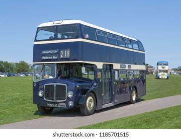 BRIDLINGTON, EAST YORKSHIRE UK, JUNE 10 2018. East Yorkshire Motor Services 1962 AEC Bridgemaster double deck bus at Bridlington UK