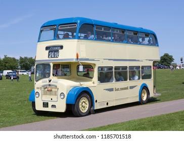 BRIDLINGTON, EAST YORKSHIRE UK, JUNE 10 2018. East Yorkshire Motor Services 1961 Bristol Lodekka double deck bus on the seafront at Bridlington East Yorkshire, UK.