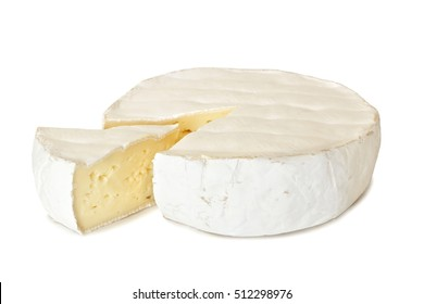Brie cheese with cut slice isolated on a white background
