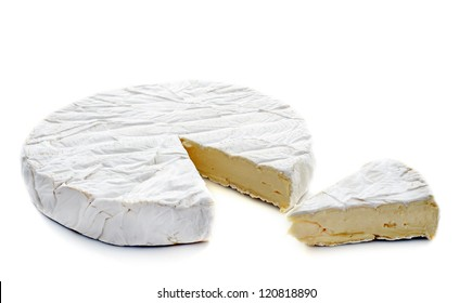 brie cheese in front of white background