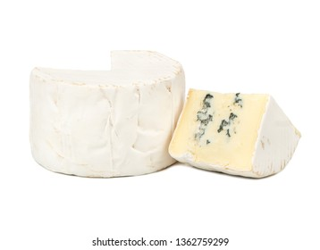 Brie cheese with mold and slice on white background