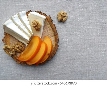 Brie cheese and persimmon